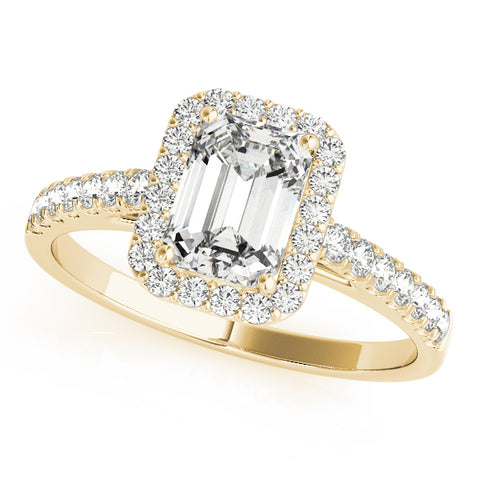 yellow gold emerald cut halo engagement ring