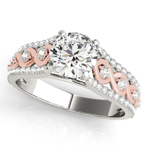 white gold diamond accented engagement ring with rose gold swirls