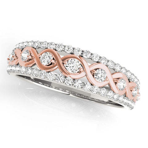 white gold and rose gold fashion swirl diamond wedding band