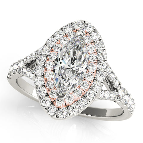 white gold and rose gold double halo marquise engagement ring