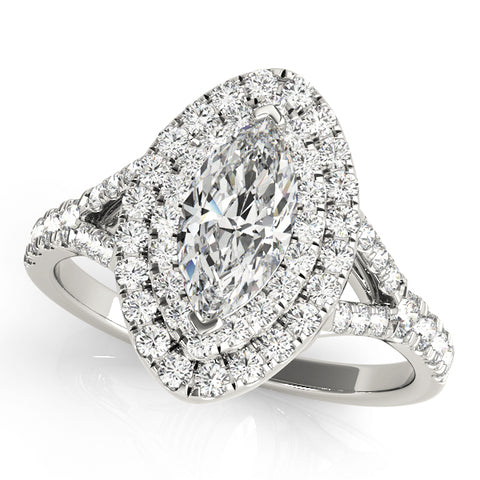 white gold marquise double halo engagement ring