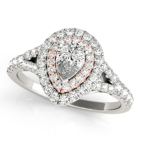 white gold and rose gold double halo engagement ring