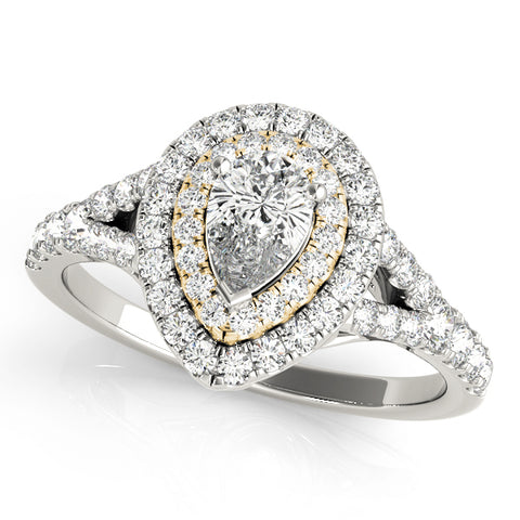 white gold and yellow gold pear shaped double halo engagement ring