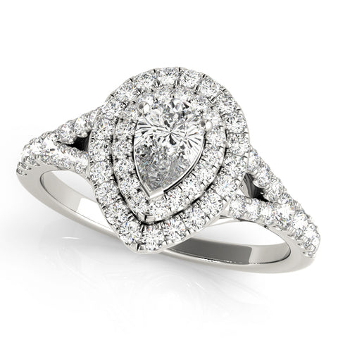 white gold pear shaped double halo engagement ring