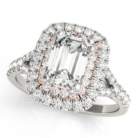 white gold double halo diamond engagement ring with an emerald cut diamond and rose gold accent prongs