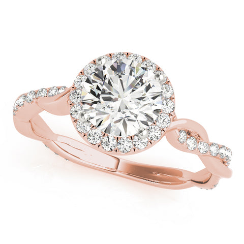 rose gold round halo diamond engagement ring with twisted shank