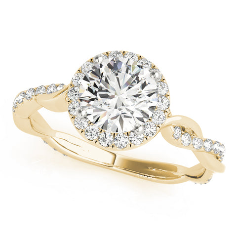 yellow gold round halo diamond engagement ring with twisted shank