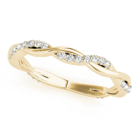 yellow gold twisted diamond wedding band