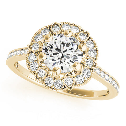 yellow gold vintage-inspired diamond halo engagement ring