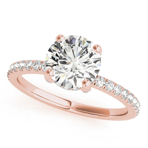 rose gold single row engagement ring