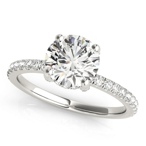 white gold diamond single row engagement ring