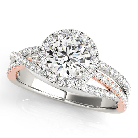 white gold and rose gold multi row halo diamond engagement ring