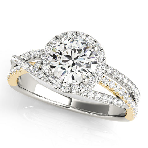 white gold and yellow gold multi row halo diamond engagement ring
