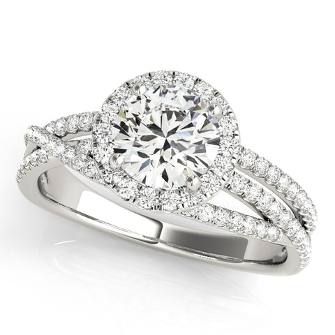 white gold multi row halo engagement ring