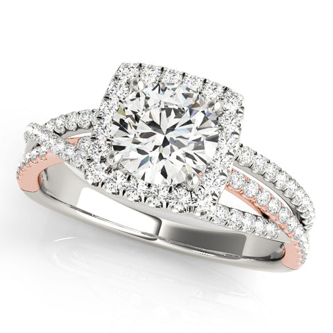 14kt White & Rose Gold Square Halo Engagement Ring Setting