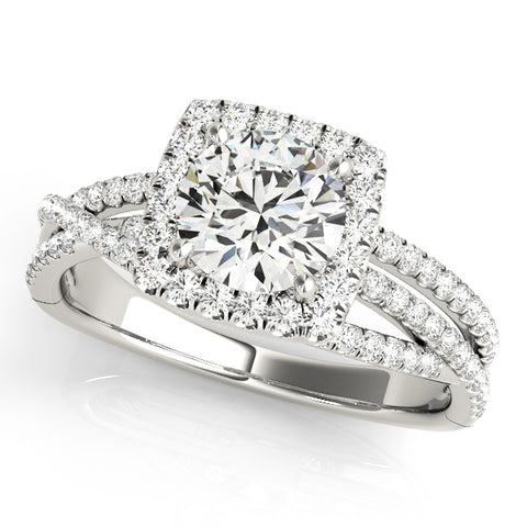 white gold multi row square halo diamond engagement ring