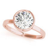 rose gold bezel set solitaire engagement ring setting
