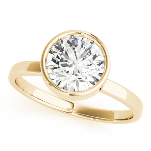 yellow gold bezel set solitaire engagement ring