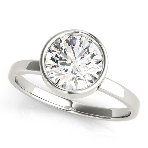 white gold bezel set diamond solitaire engagement ring
