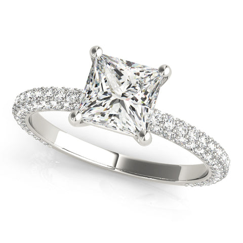 white gold pave set princess cut engagement ring