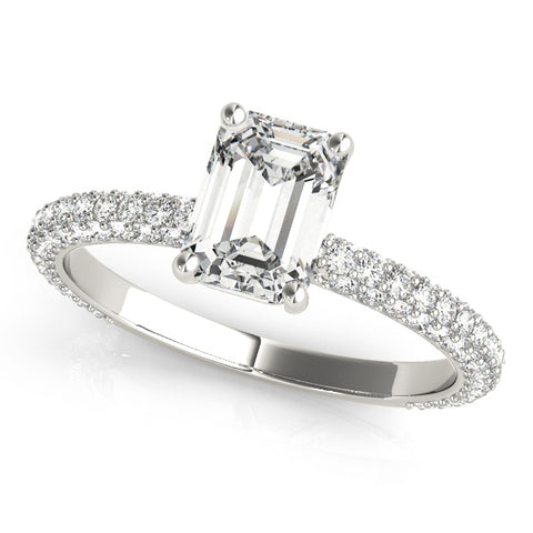 white gold emerald cut pave set engagement ring