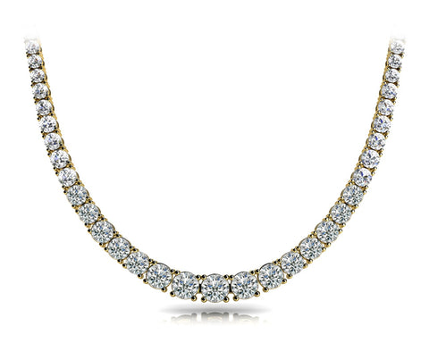 yellow gold graduated diamond tennis necklace