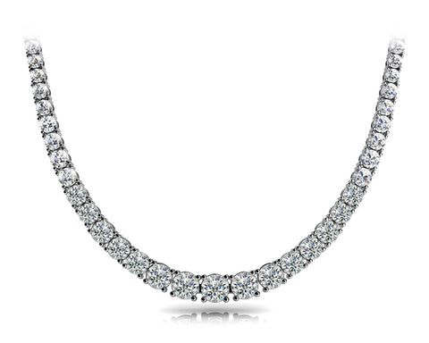 platinum graduated diamond tennis necklace