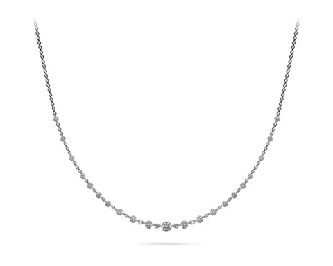 white gold graduated diamond necklace