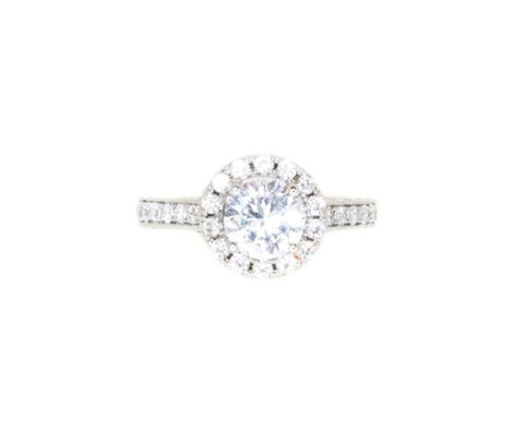 Sterling silver round cz halo engagement ring