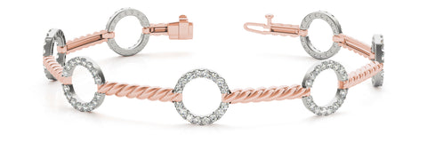 rose gold and white gold diamond fashion bracelet