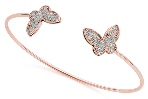 rose gold diamond butterfly open bangle bracelet