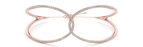 rose gold looped diamond bangle bracelet