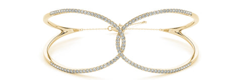 yellow gold looped diamond bangle bracelet
