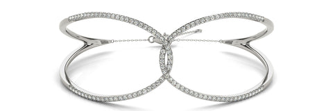 white gold looped diamond bangle