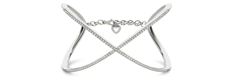 white gold diamond crossover bangle bracelet