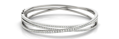 white gold overlap diamond bangle