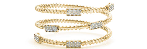 yellow gold and white gold flexible diamond wrap bangle