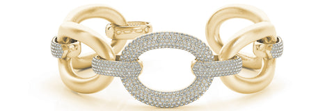 yellow gold Italian link diamond bracelet