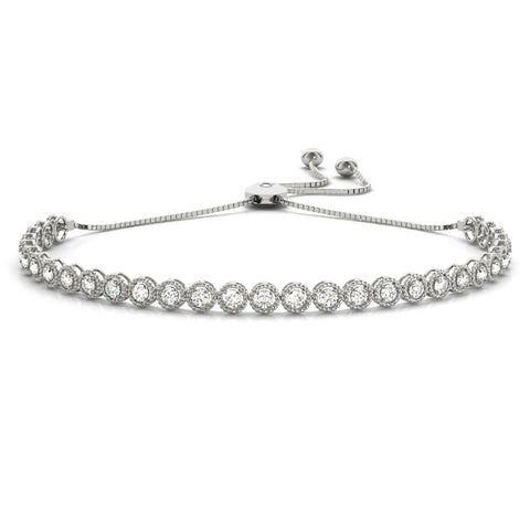 white gold halo diamond bolo bracelet