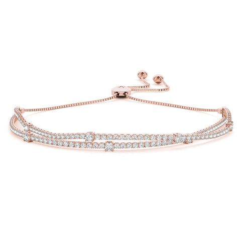 rose gold double row diamond bolo bracelet