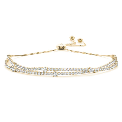 yellow gold double row diamond bolo bracelet