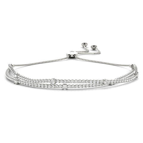 white gold double row diamond bolo bracelet