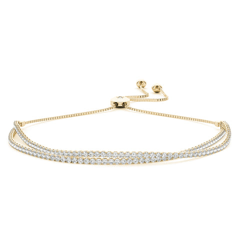 yellow gold double row bolo diamond bracelet
