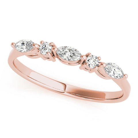 rose gold marquise and round diamond wedding band