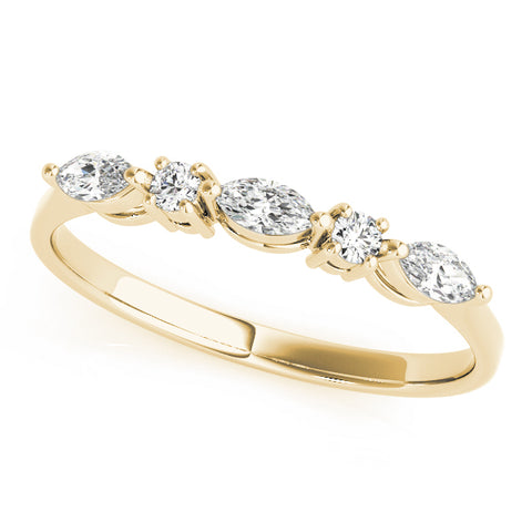 yellow gold marquise and round diamond wedding band