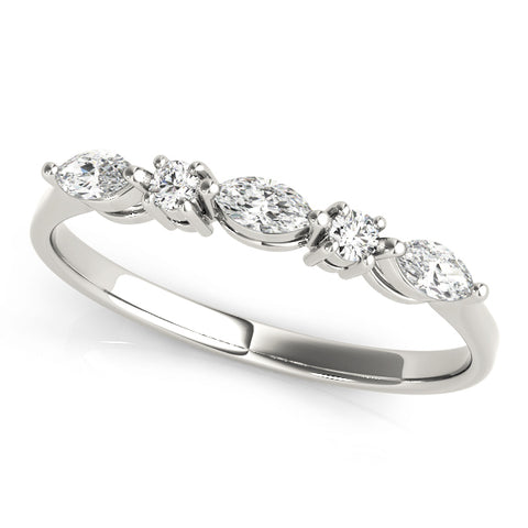 white gold marquise and round diamond wedding band