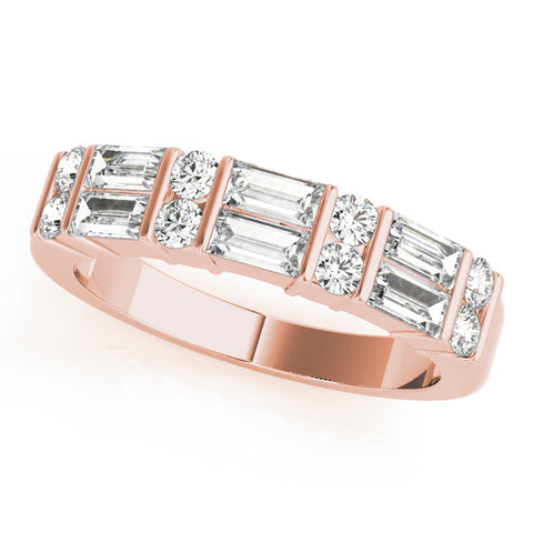 rose gold round diamond and baguette diamond wedding band