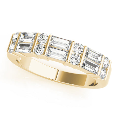 yellow gold round diamond and baguette diamond wedding band