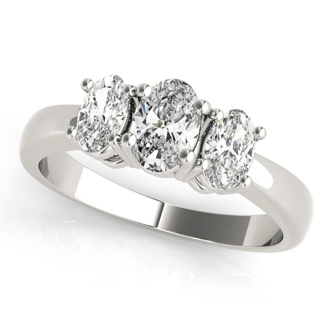 white gold three stone oval cut diamond engagement ring