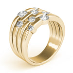 yellow gold multi row diamond fashion ring